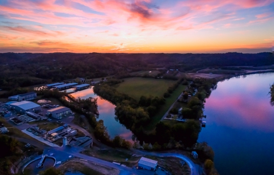 Drone photo of a beautiful sunset taken by Aerial Innovations of TN.