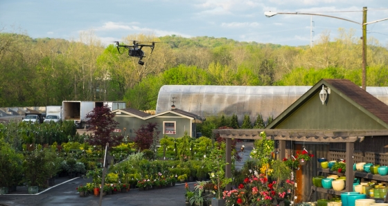 Photo of a drone DJI hovering over a nursery in Tennessee. Image by Aerial Innovations of TN.