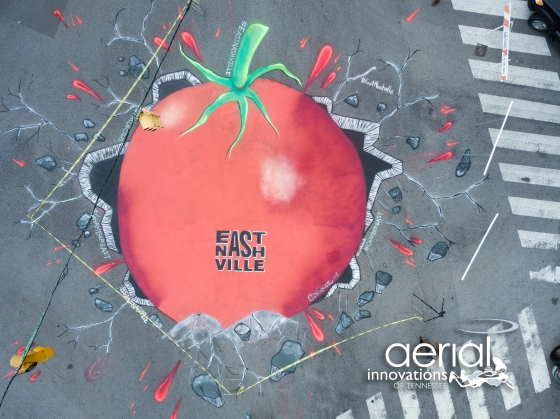 Drone photo of the Tomato Arts Fest street mural in East Nashville. Photo by Aerial Innovations of TN.